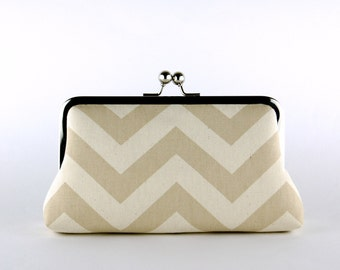 Bridesmaid Clutch, Chevron in Natural Clutch, Silk Lining, Bridesmaid Gift, Wedding clutch, Aqua and Natural collection