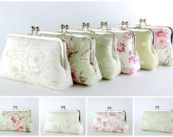 Bridesmaid Clutch, Sage Green & Pink collection, Silk Lining, Bridesmaid Gift, Wedding clutch