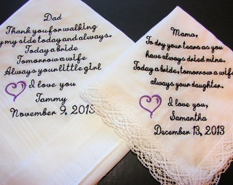 Mother and Father of the Bride- Personalized Wedding Handkerchiefs