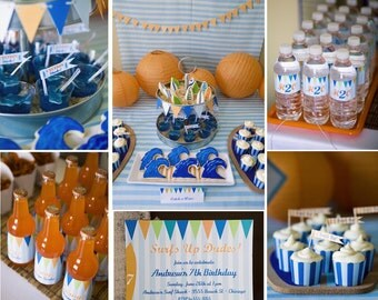 Surfer Party Printable Party Set - Surfs Up Blue and Orange- invite, banner, wraps, tags, flags
