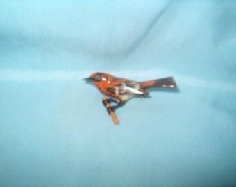 Takahashi Bird Brooch Pin, Thrush?, Wood, Hand Carved by Yoneguma  & Hand Painted by Kiyoka, Japanese, Jewelry