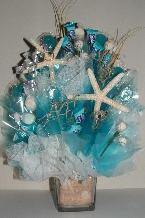Beach wedding centerpiece w edible favors an elegant candy