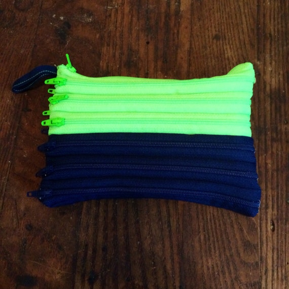 """7"""" Zipper Clutch Seattle Seahawks colors, blue and green with multi openings"""