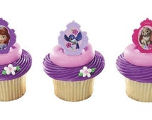 12 Sofia The First Sofia's Friends Cupcake / Cake Topper Rings Birthday party supplies Cartoon