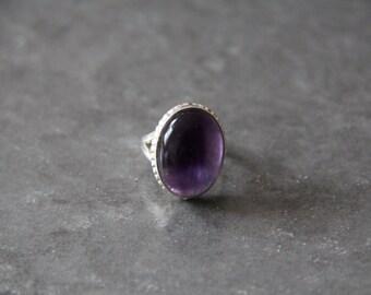 Amethyst Ring Bezel Set in 925 Sterling Silver