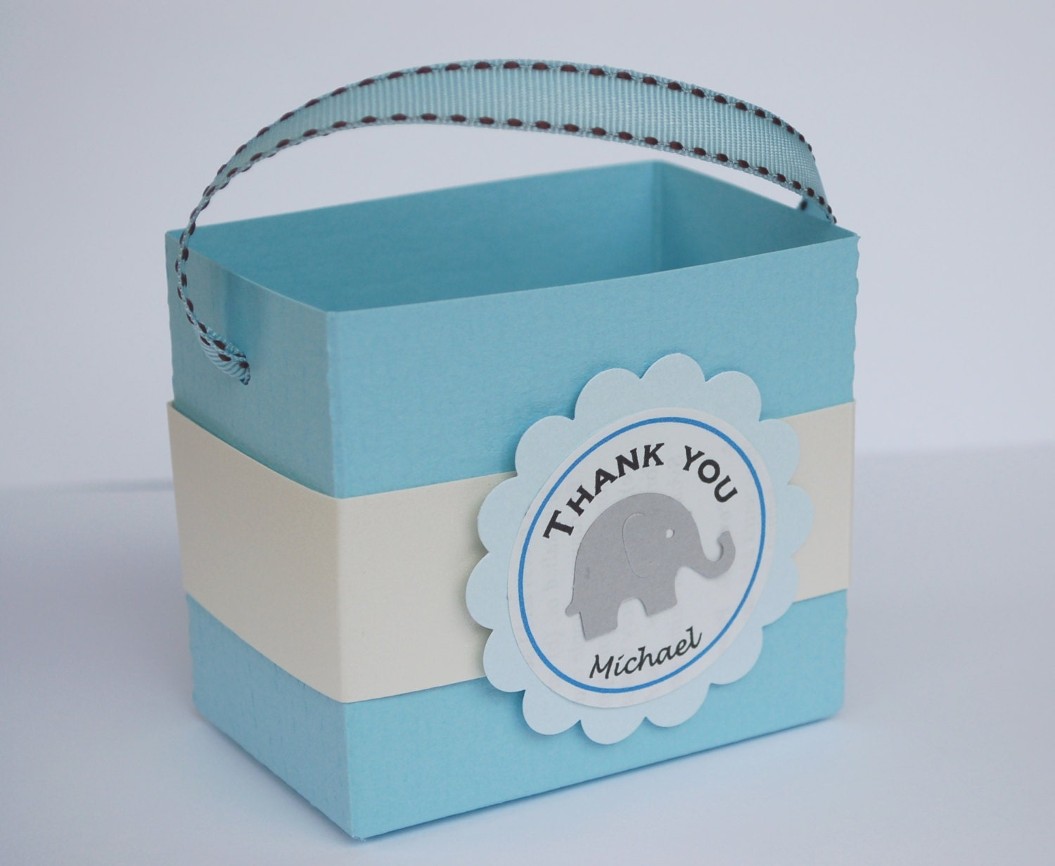 Favor Gift Boxes: Personalized Elephant Gift Favor Box Goodie Bag By Fishcouple