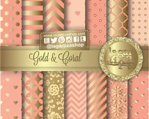 Gold Coral Salmon Peach Digital Paper Background Chevron Polka dots hearts lace Quatrefoil Scrapbooking Blog invitations thank you cards
