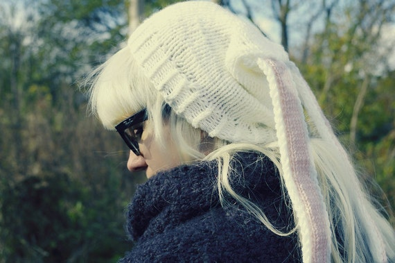 Liebre conejo conejo orejas largas kawaii gorro mori mano lana tejido de punto unisex Alicia blanco