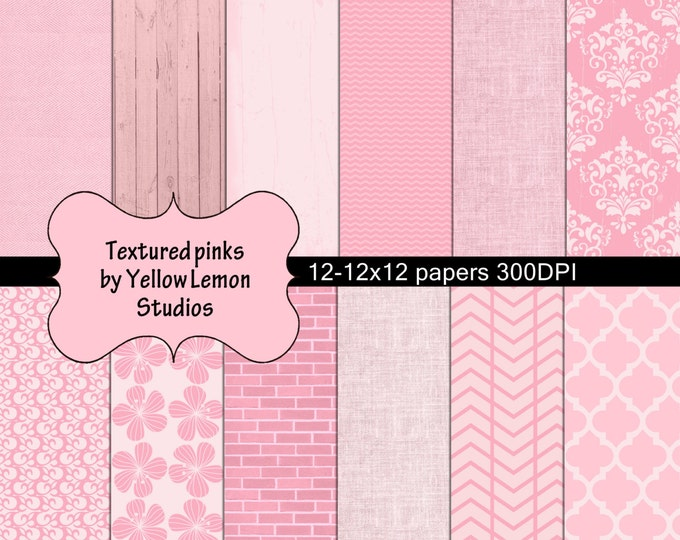 INSTANT DOWNLOAD- Pink textured wood brick scrapbooking background 12x12 paper size