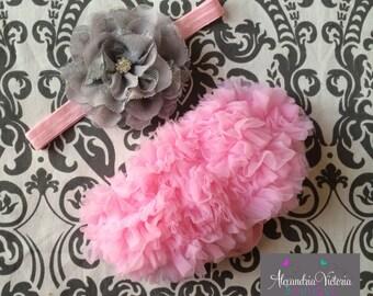 HEADBAND and BABY BLOOMER set, baby headband and chiffon ruffle diaper cover, pink and gray baby set, photo prop.