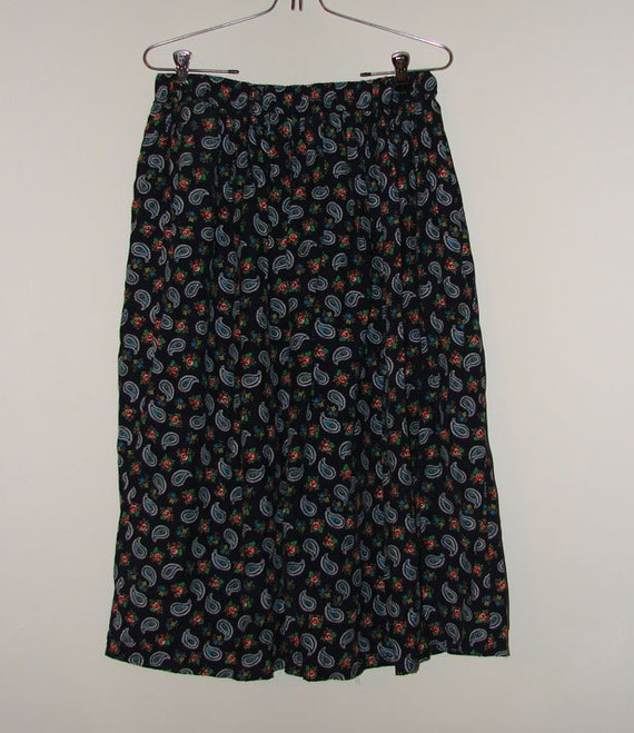 vintage chaus soft navy blue floral theme skirt sz by