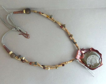 ON SALES -20% Ammonite and copper tribal necklace with antic beads - Artisan Jewelry by Emilia-M