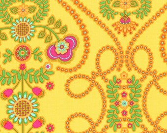 Per Yard Coeur De Fleurs, Yellow floral fabric by Pillow and Maxfield, Michael Miller fabric/Designer fabric for apparel and crafts