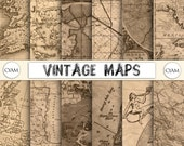 DP-1000-MPS Vintage Map Digital Paper: Instant Download. Old Aged Maps patterns.