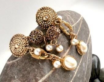 Elaborate Dangle Earrings - Vintage Goldtone with White Pearls