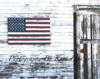 Patriotic Rural America Weathered White Barn Fine Art Cottage Decor Flag Photography