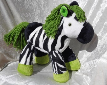 Stuffed ZEBRA GREEN HAIR plush, Luxury Zebra plush decor, handmade zebra plush, soft toy zebra with green hair, unique zebra toy collectible