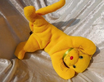 YELLOW CAT floppy, stuffed cat yellow, SUMMER color cat, handmade summer kitten, floppy cat yellow, ooak cuddly cat yellow, tallhappycolors