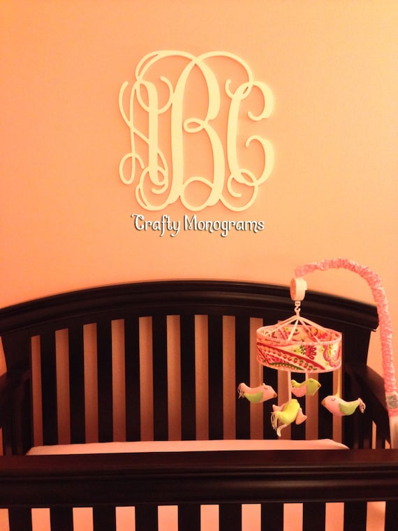 Wooden Wall Decor For Nursery : Nursery decor wooden monogram wall art large wood