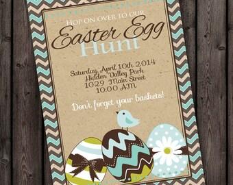 Easter Egg Hunt Invitation,  primarty egg hunt, easter invite, easter party,  free customization on wording, ward party easter egg hunt