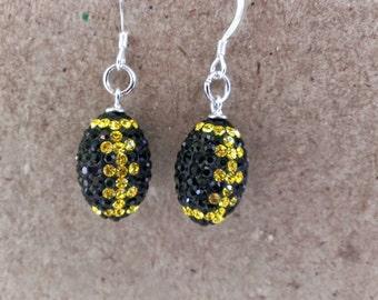 Pittsburgh Steelers Rhinestone  football  earrings !