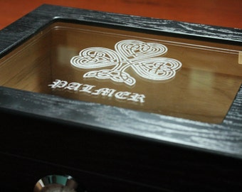 Personalized Humidor, The Capri 25-50 Cigar Black Glass Top