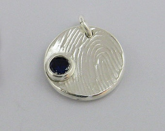 Fingerprint Jewelry, Fingerprint Charm, Fingerprint Pendant, Silver Fingerprint, Birthstone Fingerprint, Birthstone Jewelry
