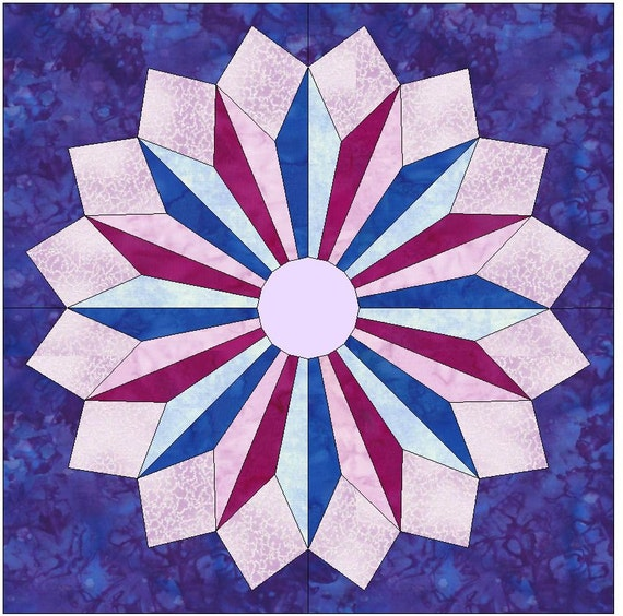 Star Burst Paper Template Quilting Block Pattern Pdf