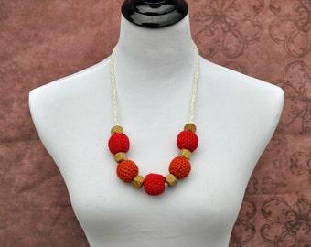 Nursing Necklace - Red,  Orange, and Khaki- Handmade
