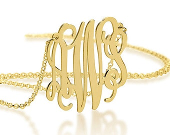 Initial Personalized Monogram Necklace 1.2 Inch - 18K Gold Plated