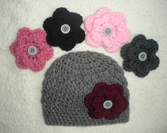 Crochet baby hat, baby girl gift, baby shower gift, newborn pictures, crochet baby beanie, interchangeable flowers, hats for girls, hospital
