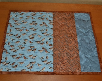 coastal blue sea birds quilted contemporary handmade in USA  placemats 14 x 18, quantity of 4