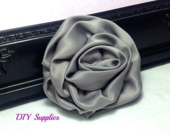 Gray satin rosette flower - wholesale flowers - diy supplies - hair bow supplies - flower supplies - headband supplies