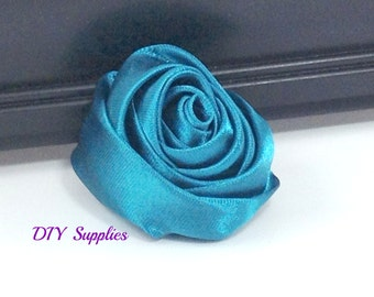 "2"" Teal rolled rosettes - satin flower - rolled satin flower - wholesale flowers - fabric flower - rolled rose"