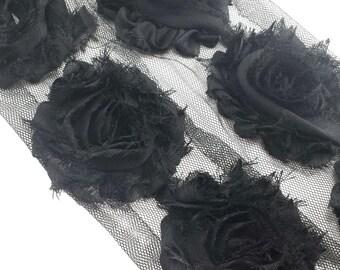 Black shabby flower trim - shabby rose trim - wholesale flower trim - shabby trim - rose trim - chiffon trim - you pick amount
