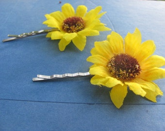 Five Sets Sunflower Hair Clips / Bridesmaids Special / Yellow Mini Sunflower Bobby Pins