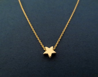 Tiny, Cute, Gold, Star, Necklace, Modern, Minimal, Dainty, Rose gold, Star, Jewelry, Birthday, Lovers, Firnedship, Gift, Jewelry