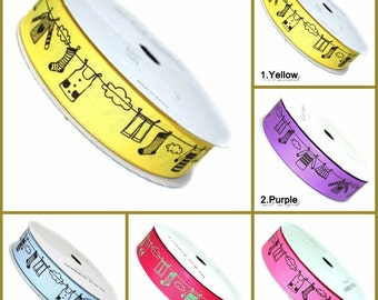 20yd 25mm  Gross grain Ribbon : Transfer printing Clothesline,  wrapping, party favors, Christmas 10 Colors 25mmX20yd(18M)