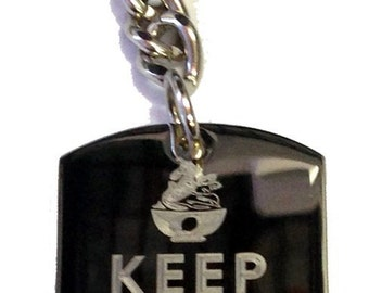Keep Calm and Eat Frozen Yogurt - Metal Ring Key Chain EAT FROZEN YOGURT