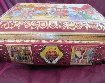 Tin Box, Storage Box, Boxes, Metal, A Decorative Tin Box with Stunning Picture of German Ancestors