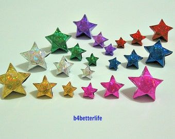 Lot of 420pcs Origami Lucky Stars In 3 Different Sizes. (4D Glittering paper series).