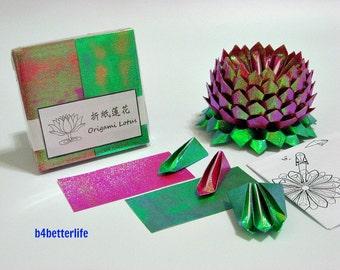 Pack Of 200 sheets Maroon Color DIY Origami Lotus Paper Folding Kit for Making 2pcs of Medium Size Lotus. (TX Paper Series). #LPK-04.