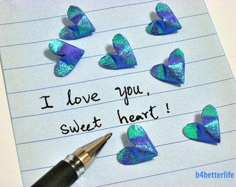 100pcs Dark Blue Color Mini Size 3D Origami Hearts LOVE. (TX paper series).