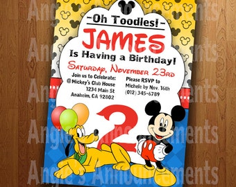 Mickey Mouse & Pluto: Printable Birthday Party Invitation