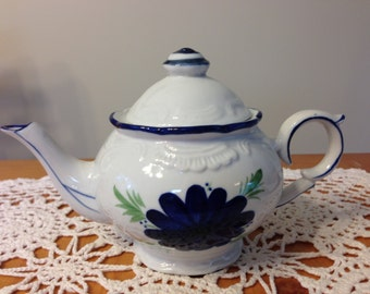Small China Teapot with Blue Flowers