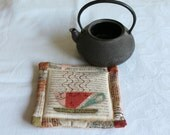 Hot Cup of Tea Quilted Fabric Coasters Coffee Mug Rug