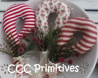Primitive Pattern - Candy Cane Bowl Filler E-Pattern - Candy Cane Ornament Pattern - Candy Cane Ornie Pattern - Handmade Candy Cane Pattern