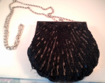 Black Beaded Evening Purse with Silver Chain and Hardware