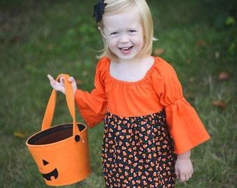 Orange & Black Candy Corn Halloween Ruffle Dress - Size 3 - Trick or Treat - Party - Theme - Fall - Festivities - Girls - School - Fall