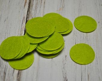 "Lime Green Felt Circle 1"" inch - DIY craft felts"